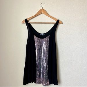 🦒 Charlotte Russe Silver Sequence Black Tank Top